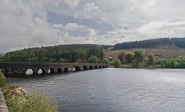 在湖的被成拱形的,石桥梁 免版税库存照片