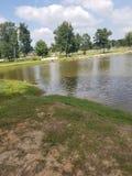 在湖的野餐 图库摄影