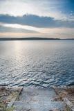 在湖的镇静日落 图库摄影