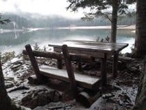 在湖的长凳视图 免版税库存照片