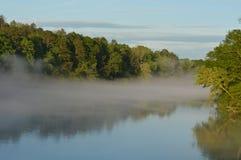 在湖的雾 库存照片