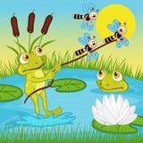 在湖的青蛙乘驾 向量例证