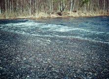 在湖的水的冰冷的融雪 免版税图库摄影