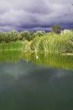 在湖的暴风云 免版税库存照片