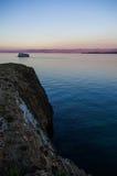 在湖的Surset 免版税库存照片