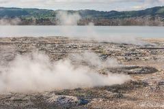 在湖罗托路亚的火山的喷气孔 免版税库存图片