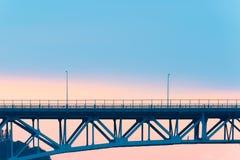 在湖联合的极光桥梁在西雅图 免版税库存图片