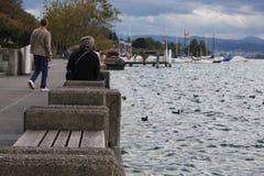 在湖苏黎世岸的石长凳  免版税图库摄影