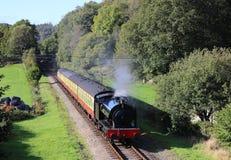 在湖边和Haverthwaite铁路的蒸汽火车 库存图片