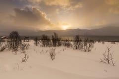 在湖边的日落与海湾的岩石在低潮期间的 免版税库存图片