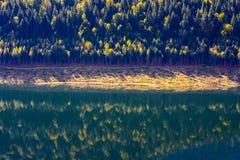 在湖镜子的秋天 图库摄影