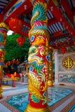在湖附近的中国寺庙在泰国 免版税库存图片