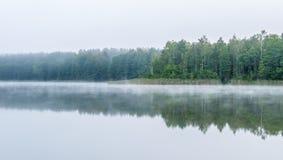 在湖附近的有薄雾的阴沉的早晨 免版税图库摄影