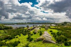 在湖附近的牧场地在Connemara在爱尔兰 图库摄影