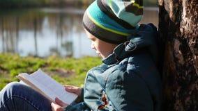 在湖附近的秋天公园读书的男孩 秋天美好的横向 学校教育 股票视频