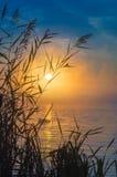 在湖,俄罗斯,乌拉尔的有薄雾的日出 免版税图库摄影