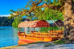在湖,流血,斯洛文尼亚,欧洲的典型的木小船 库存图片