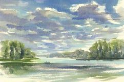 在湖水彩的黑暗的云彩 库存照片