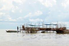 在湖(洞里萨湖)的生活 库存图片