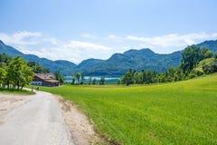 在湖attersee附近的绿色农村风景 免版税库存图片