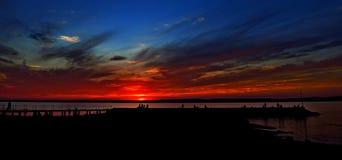 在湖Balaton的日落 库存照片