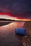 在湖Burralow Penrith的日落 库存图片