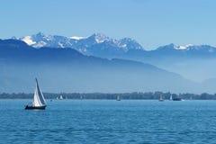 在湖Constance的游艇 库存照片