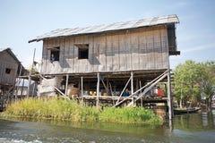 在湖Inle缅甸的生活方式 图库摄影