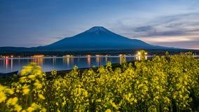 在湖kawaguchiko,日落,葡萄酒的富士山 免版税图库摄影
