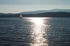 在湖Lipno的风帆 库存照片