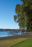 在湖Llanquihue的码头 免版税库存照片