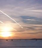 在湖Mendota的冬天日落 图库摄影