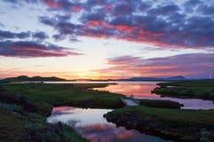 在湖Myvatn,冰岛的美好的日落 免版税图库摄影