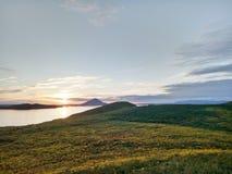 在湖Myvatn,冰岛的美好的日落 库存图片