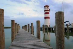 在湖Neusiedl的灯塔 图库摄影