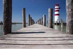 在湖Neusiedl的灯塔 免版税库存图片