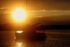 在湖Powidz的日落在波兰 库存图片