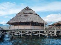 在湖Sentani,新几内亚的Housesat 免版税库存图片