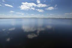 在湖Tohopekaliga的开阔水域春天,圣云彩,小花 库存图片