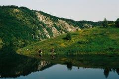在湖Uvac,塞尔维亚的Fishermans 库存照片