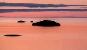 在湖Vattern,瑞典的柔滑的日落 图库摄影