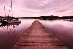 在湖Windermere的美好的晚上 库存照片