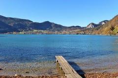 在湖Wolfgangsee的栈桥在奥地利,欧洲 库存照片