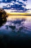 在湖wylie的日落 免版税库存照片