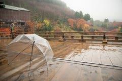 在湿木地板,清水寺,日本上的透明伞 免版税库存图片