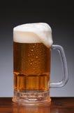 在湿木表面的啤酒杯 库存图片