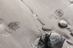 在湿沙子的脚印在海岸线 免版税库存照片