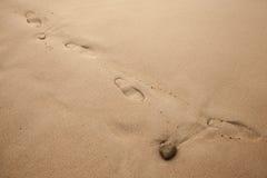 在湿沿海沙子的脚印 免版税库存图片