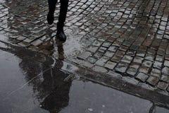 在湿鹅卵石的走的人` s腿在雨以后摆正 老瓦片路 免版税库存照片