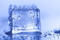在湿玻璃桌上的色的冰块 选择聚焦 图库摄影